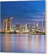 Twilight In Singapore Wood Print by Ulrich Schade