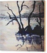 Twilight Lake Sunset Wood Print