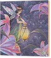 Twilight Lilies Wood Print