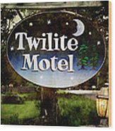 Twilight Motel Wood Print