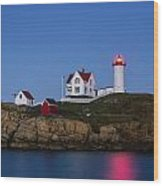 Twilight Nubble Lighthouse Wood Print