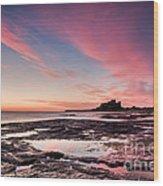 Twilight On Harkness Rocks Bamburgh Wood Print