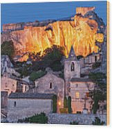 Twilight Over Les Baux Wood Print