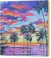 Twilight Palms Wood Print