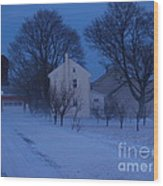 Twilight Snow On Bauman Road Wood Print by Anna Lisa Yoder