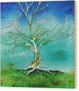 Twilight Tree Wood Print