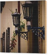 Building Cityscape Twin Lamps Wood Print