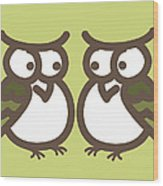 Twin Owl Babies- Nursery Wall Art Wood Print by Nursery Art