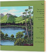Twin Ponds And 23 Psalm On Green Horizontal Wood Print
