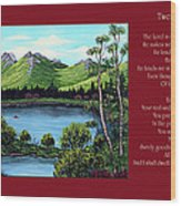 Twin Ponds And 23 Psalm On Red Horizontal  Wood Print