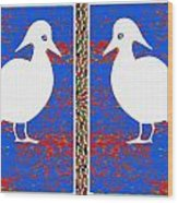 Twin Souls Love Birds Snow White Color Wood Print