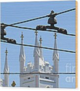 Twin Spires And Trolley Lines Wood Print