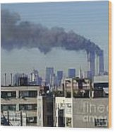 Twin Towers Burning Wood Print