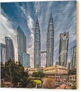 Twin Towers Kl Wood Print by Adrian Evans