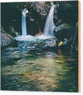 Twin Waterfall Wood Print