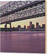 Twins Bridge Over A River, Crescent Wood Print