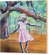 Twirl Under The Oaks Wood Print