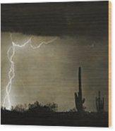 Twisted Desert Lightning Storm Wood Print