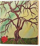 Twisted Tree And Roses Wood Print