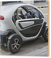 Twizy Rental Electric Car Side And Back Milan Italy Wood Print