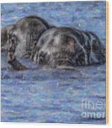 Two African Elephants Swimming In The Chobe River Wood Print