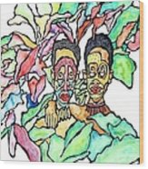 Two African Men In Leaves Wood Print by Glenn Calloway