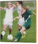 Two Against One Expressionist Soccer Battle  Wood Print