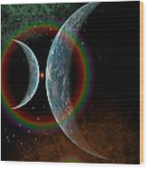 Two Alien Planets In A Distant Part Wood Print