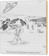 Two Aliens In A Flying Saucer Pass A Beach Wood Print