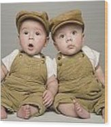 Two Babies In Matching Hat And Overalls Wood Print