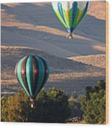 Two Balloons In Morning Sunshine Wood Print