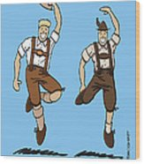 Two Bavarian Lederhosen Men Wood Print by Frank Ramspott