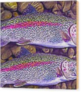 Two Beauties - Trout Wood Print by Laird Roberts