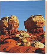 Two Big Rocks At Capital Reef Wood Print by Jeff Swan