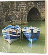 Two Blue Fishing Boats Wood Print