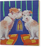 Two Border Terriers Together Wood Print