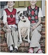 Two Boys And Their Dog Wood Print