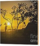 Two Boys Silhouette In Spectacular Golden Sunset  Wood Print