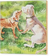 Two Brothers Labradors Wood Print