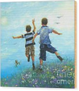 Two Brothers Leaping Wood Print