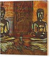 Two Buddhas Wood Print