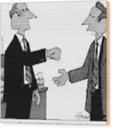 Two Business Men Stand Together Wood Print