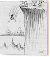 Two Cavemen Push A Caveman Off A Cliff Wood Print