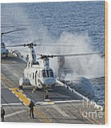 Two Ch-46e Sea Knight Helicopters Wood Print