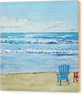 Two Chairs At The Beach Wood Print
