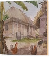 Two Chickens Two Pigs And Huts Jamaica Wood Print