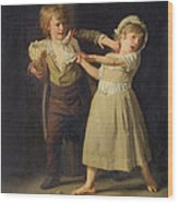 Two Children Fighting Over A Piece Of Bread Wood Print