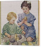 Two Children Play With Chicks Wood Print