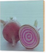 Two Chioggia Beets Wood Print