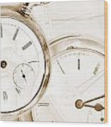 Two Clocks Wood Print